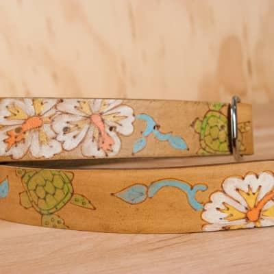 Mandolin Strap - Leather with turtles and hibiscus by Moxie & Oliver - Ukulele Strap