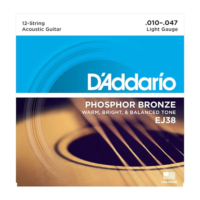 D'Addario EJ38 Phosphor Bronze 12 String Acoustic Guitar Strings