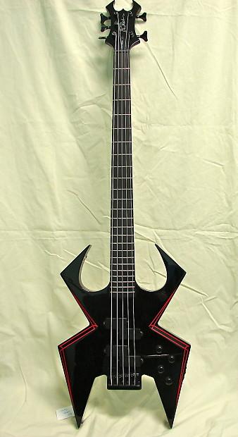 BC Rich Widow 5 String Onyx Red Pin Stripes Bass Guitar