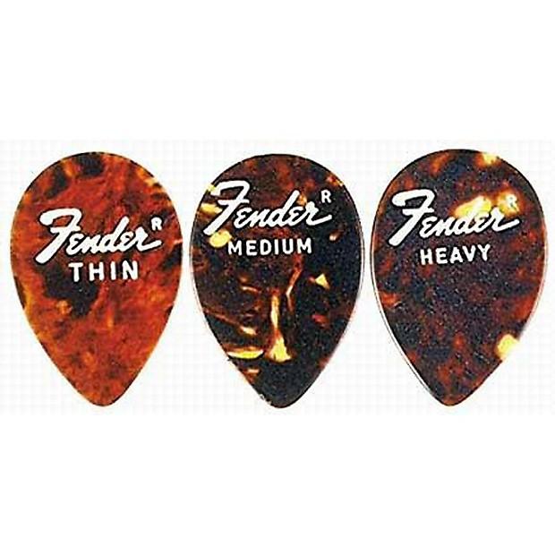 Fender Teardrop Pick : Fender tear drop shell guitar picks pack heavy