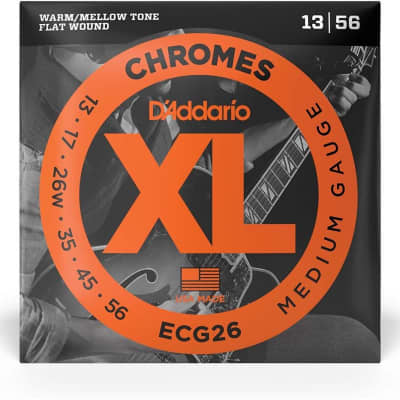 D'Addario Chromes Electric Flat Wound XL Strings - ECG26 CHROMES MED 13-56