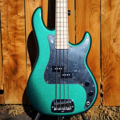 G&L USA LB-100 Emerald Green Metallic/ Maple w/ Pearl Blocks 4-String   w/ Tolex Case 2020 for sale