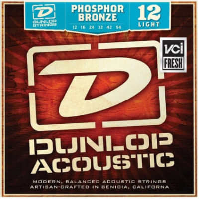 Dunlop Light Gauge Set of 6 Phosphor Bronze Acoustic Guitar Strings 12-54