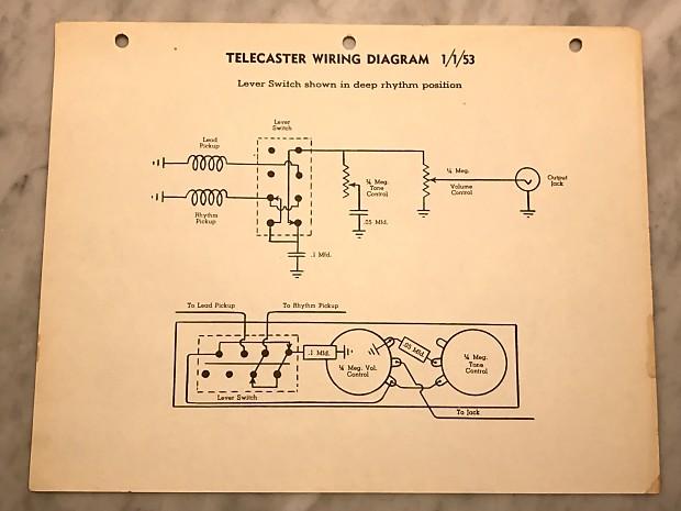 1953 Fender Telecaster Wiring Diagram | Reverb on gibson wiring diagram, srv wiring diagram, taylor wiring diagram, rickenbacker wiring diagram, japan wiring diagram, hamer wiring diagram, seymour duncan wiring diagram, danelectro wiring diagram, mosrite wiring diagram, accessories wiring diagram, fender blues junior wiring diagram, harmony wiring diagram, fender s1 switch wiring diagram, korg wiring diagram, soloist wiring diagram, guitar wiring diagram, gretsch wiring diagram, american wiring diagram, telecaster wiring diagram, les paul wiring diagram,