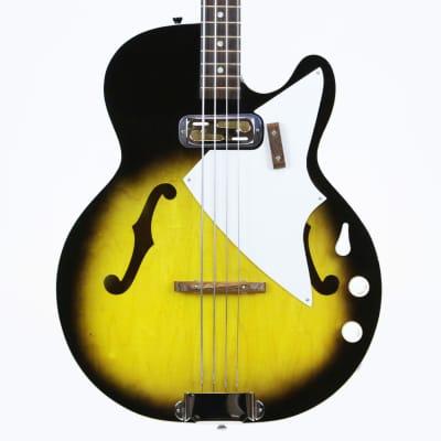 1961 Harmony H-22 Vintage HollowBody Electric Bass w/ DeArmond Pickup Original Case Near Mint H22 for sale