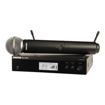 Shure BLX24R/SM58 Rackable Handheld Wireless System, Includes BLX2 Transmitter, BLX4R Receiver & SM58 Microphone, J10: 584 - 608 MHz
