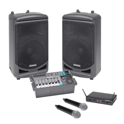 Samson Expedition XP1000 1,000W Portable PA System + Samson Concert 288 SWC288HQ6 Dual-Handheld 16-Channel True Diversity Wireless System