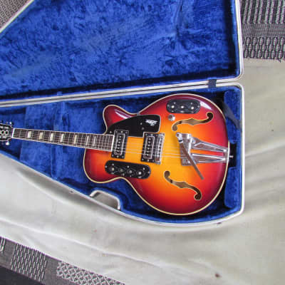 1960's Sano S-90 Semi Hollow Body Guitar W/OHC  Cherry Sunburst Made In Italy Sano Wacky Guitar for sale