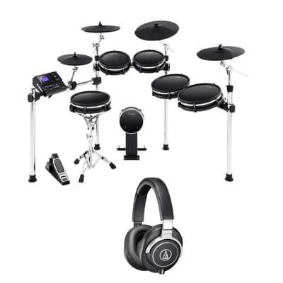 Alesis DM10 MKII Pro Kit Premium Ten-Piece Electronic Drum Kit with Mesh Heads + Audio-Technica ATH-M70x Pro Monitor Headpho