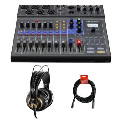Zoom LiveTrak L-8 Portable 8-Channel Digital Mixer/Recorder with AKG K 240 Studio Pro Headphones & XLR Cable Bundle