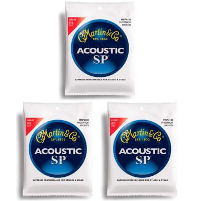 Martin MSP4100 SP 92/8 Phosphor Bronze Acoustic Guitar Strings, Light, 3-Pack
