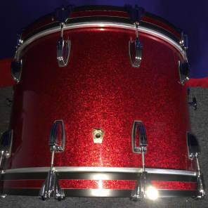 """Ludwig Red Sparkle Classic Maple 8x10""""/14x14""""/14x22"""" with Large Classic Lugs"""