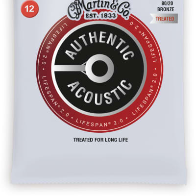 Martin MA140T Authentic Acoustic Lifespan 2.0 80/20 Bronze Acoustic Guitar Strings - Light (.12 - .54)