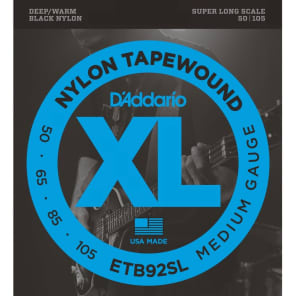 D'Addario ETB92SL Tapewound Bass Guitar Strings Medium 50-105 Super Long Scale