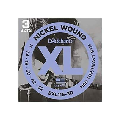 D´Addario EXL116-3D 11-52 Electric Strings Medium Top/Heavy Bottom
