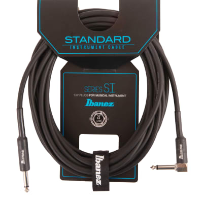 Ibanez SI20L Guitar Instrument Cable - Straight & Right Angle plugs Male - Male, Black - 6,10 m / 20 ft