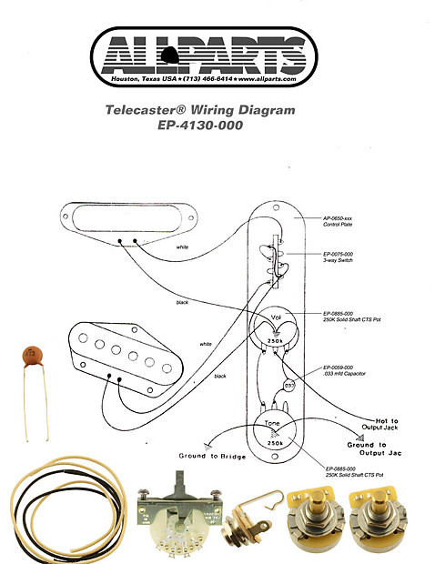 WIRING KIT-FENDER® TELECASTER TELE Complete with Schematic Diagram on
