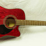 Samick D4CE TR Acoustic/Electric Guitar Beautiful Trans Red Finish w/included Accessories for sale