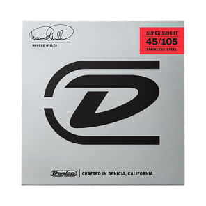 Dunlop DBMMS45105 Marcus Miller Signature Super Bright Stainless Steel Bass Strings (45-105)