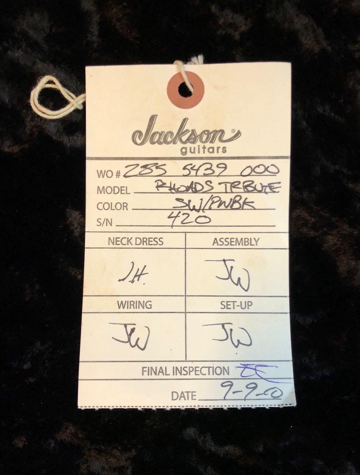 Jackson Custom Shop Randy Rhoads Concorde Relic Tribute Guitar Pickup Wiring
