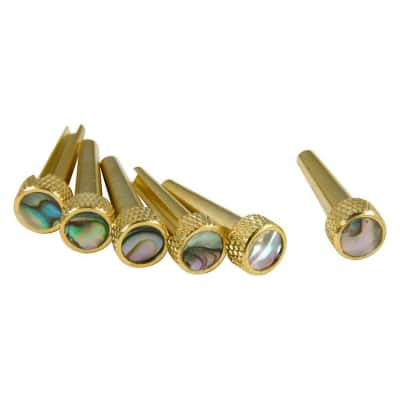 D'Andrea TP2A Acoustic Guitar Tone Pins Gold Brass Bridge Pin Set with Abalone image