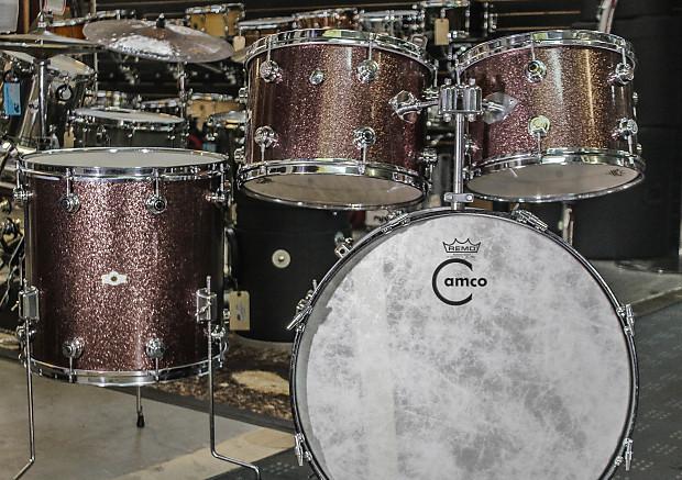 Camco Oaklawn Cloud Badge 4 Piece Drum Set Burgundy Sparkle Reverb