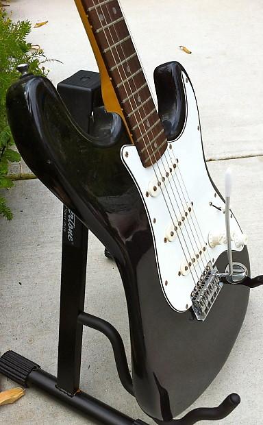 vintage 70 39 s lotus strat style guitar in black reverb. Black Bedroom Furniture Sets. Home Design Ideas