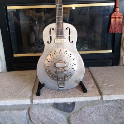 Mule Resonator Guitar round neck, biscuit, brass, 2017 silver mule patina for sale