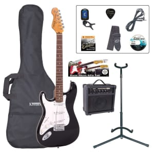 ENCORE ELECTRIC LEFT HAND GUITAR OUTFIT - GLOSS BLACK for sale