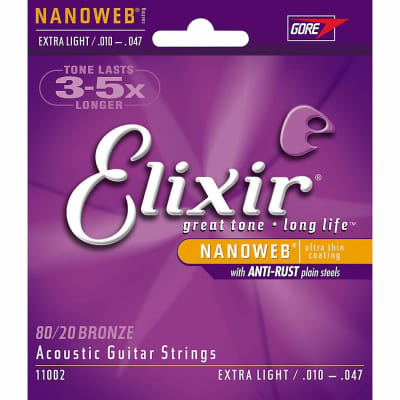 ELIXIR Acoustic Guitar Strings 80/20 Bronze Extra Light (10-47) NANOWEB Coating