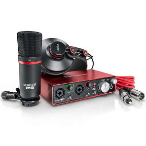 Focusrite Scarlett 2i2 (2nd Gen) Studio Bundle w/ Headphones, Mic and Cable