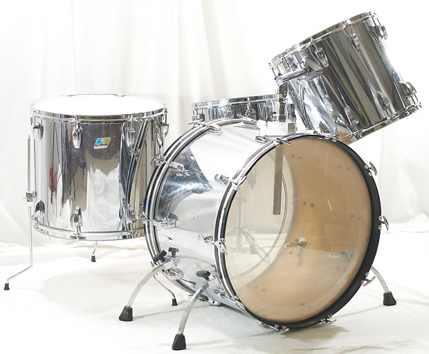Ludwig Chrome Over Wood COW 4 Piece Drumset Good Condition