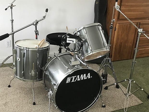 Tama Rockstar DX Drum Set 19902 Smokey Chrome