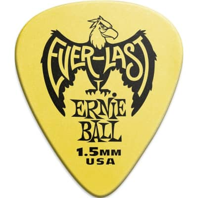 Ernie Ball 9195 Everlast Pick, 1.5mm, Yellow, 12 Pack for sale