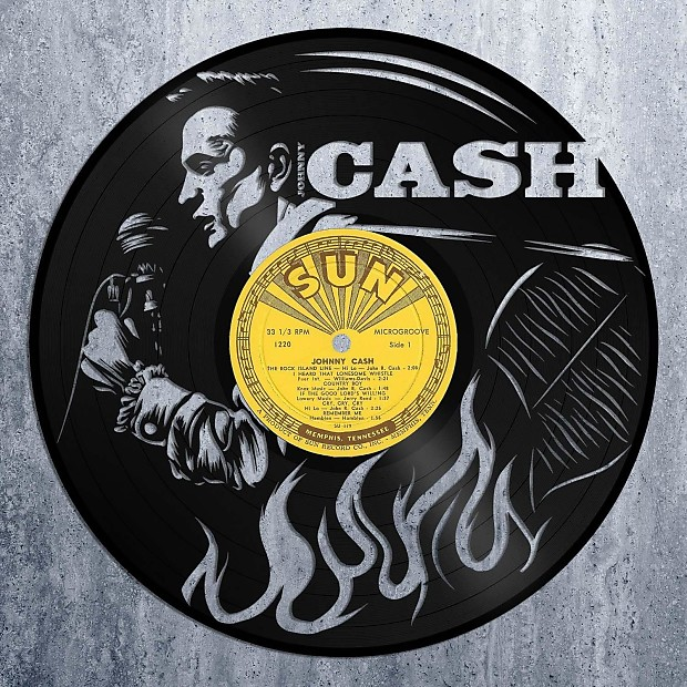 Johnny Cash Vinyl Wall Art - Gold / Framed | VINYLSHOPUS | Reverb