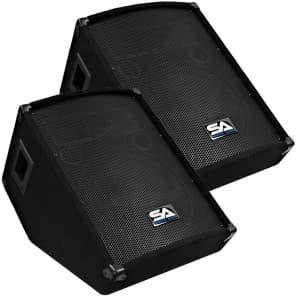 """Seismic Audio SA-12MT Passive 1x12"""" Titanium Horn 200w Floor Monitor Wedge Speakers (Pair)"""