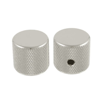"""2 Allparts Nickel Barrel Knobs With Set Screw For Guitar and Bass Fits USA 1/4"""" Solid Shaft Pots!"""