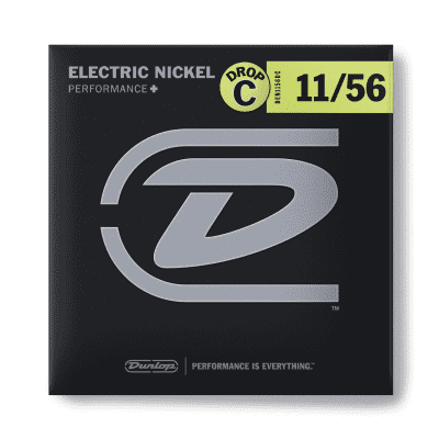 Dunlop DEN1156DC Performance+ Nickel Wound Drop C Electric Guitar Strings - 11-56