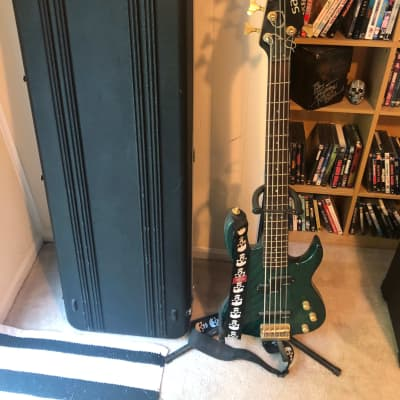 Samick Valley Arts 5 string bass Green w/ Hardcase and Stand for sale
