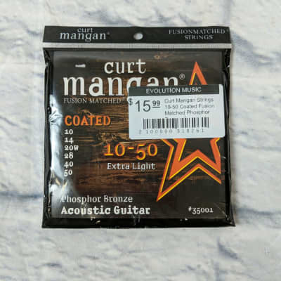 Curt Mangan Strings 10-50 Coated Fusion Matched Phosphor Bronze Extra Light Acoustic Guitar String