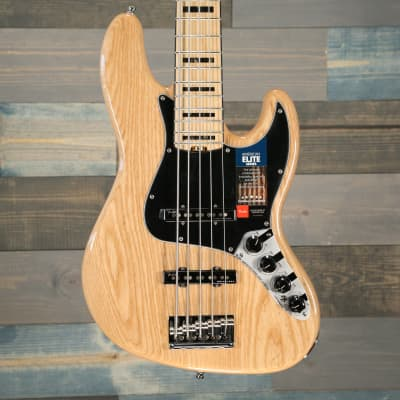 Fender American Elite Jazz Bass V Ash, Maple Fingerboard Natural for sale
