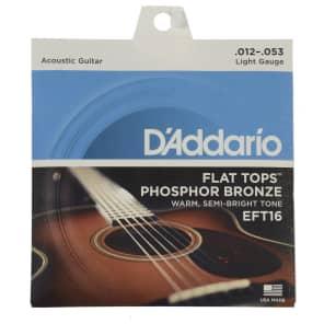 D'Addario EFT16 Flat Tops Phosphor Bronze Acoustic Guitar Strings, Light Gauge