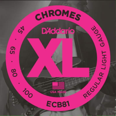 D'Addario ECB81 XL Chromes Flatwound Bass Strings, Regular Light, Long Scale