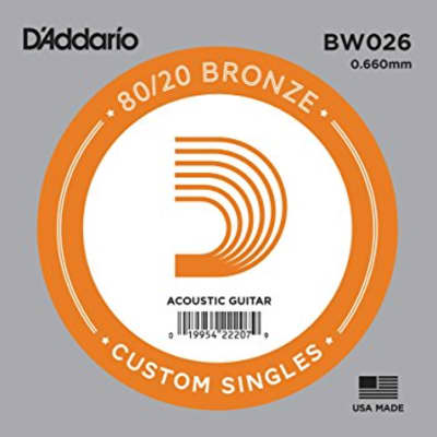 D'Addario BW026 Bronze Wound Single Acoustic Guitar String .026
