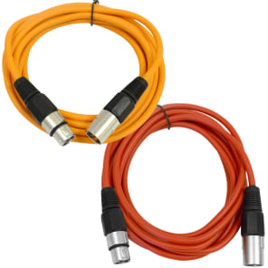 Seismic Audio SAXLX-6-ORANGERED XLR Male to XLR Female Patch Cables - 6' (2-Pack)