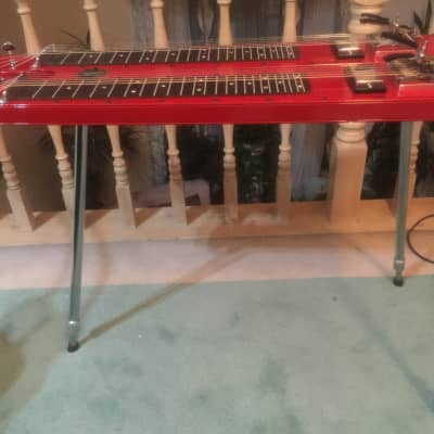 Lap steel Guitar double neck red, built from aluminum  Fouke  brand, case, 6 strings legs