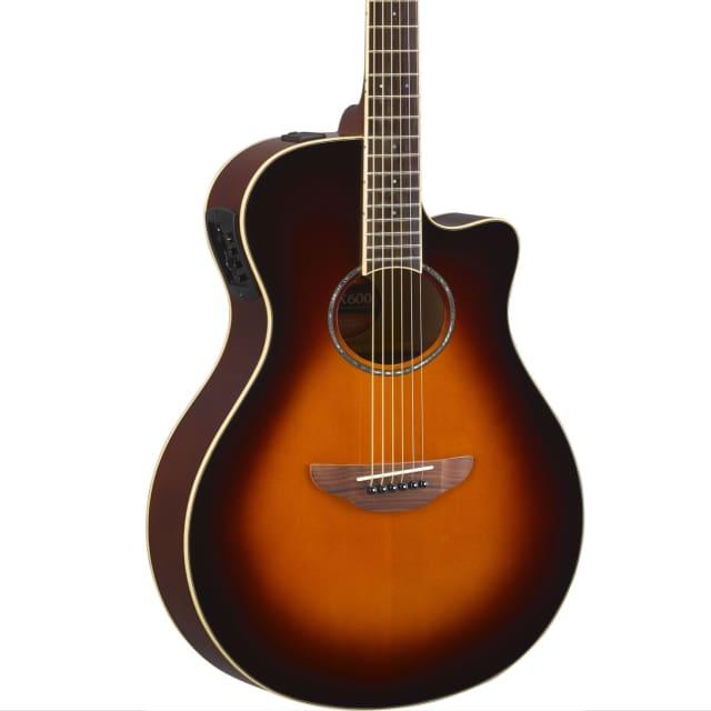 Yamaha APX600 OVS Thin Body Acoustic-Electric Guitar Old Violin Sunburst Finish image