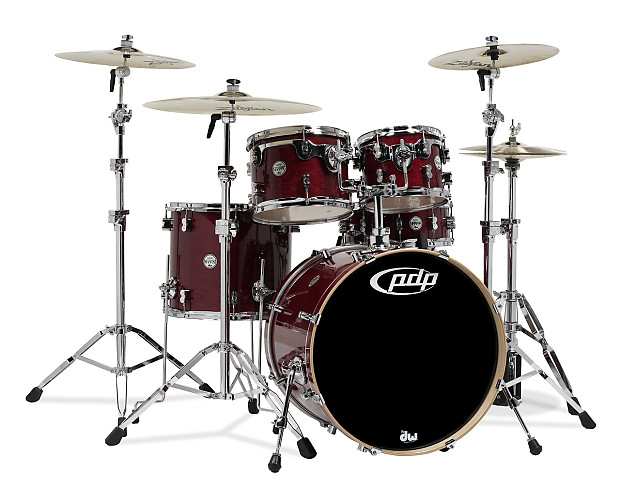 Concept maple by dw cherry stain lacq chrome hw 5 pcs for 16 x 12 floor tom