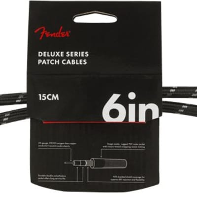 """Fender Deluxe Series Instrument Cables (2-Pack), Angle/Angle, 6"""", Black Tweed"""
