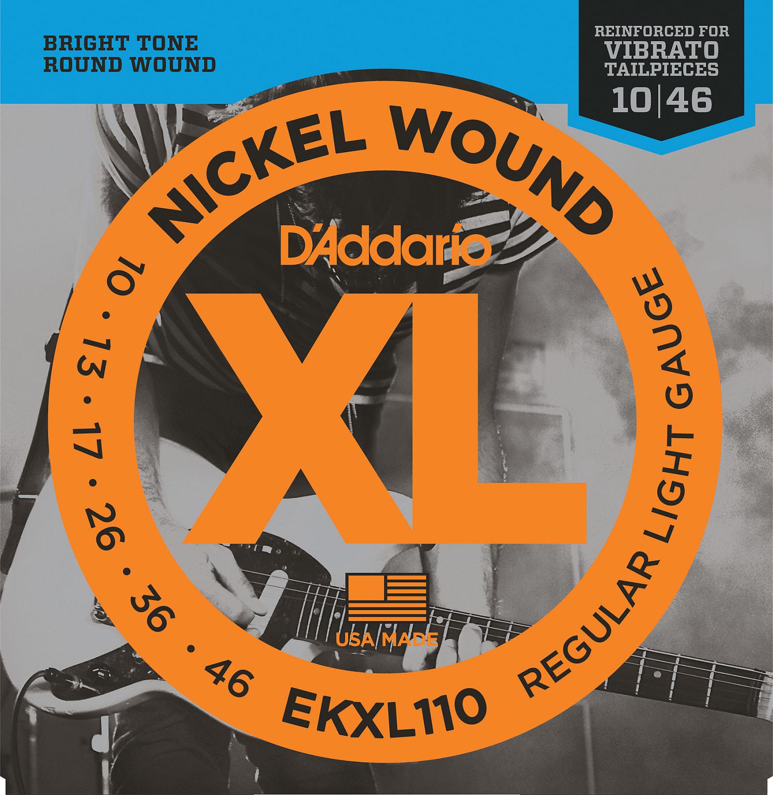 D'Addario EKXL110 Nickel Wound Electric Guitar Strings, Regular Light, Reinforc